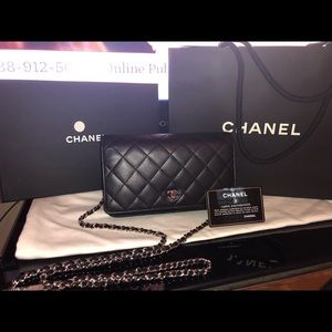 Chanel WOC black lambskin with silver hardware